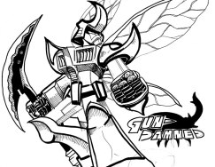 "Inspired by the Gundam Deathscythe Hell custom from the anime ""Gundam Wing"", and the Americanized Japanese sentai show ""Big Bad Beetleborgs"". This one eventually got colored with a background and everything; cant find that file. Here's the inked art! GUN-DAMNED (pencil and ink, 8.5 x 11"")"