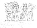 A sketch of a group of enemy adventurers, led by the elf Ten-Kai (2nd from left.)