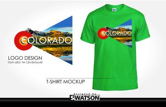 "Using the logo for the Colorado tourism board, I saw a reflective lake and requisite mountains. The triangular image block sprouts from the center of the ""C"" shape in the tourism board logo. The green T-shirt reflects the natural bent of Coloradans/Coloradoans."